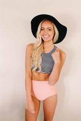 Angelsin Altı Pembe Üstü Cizgili Yüksek Bel Tankini Bikini Takım - Thumbnail