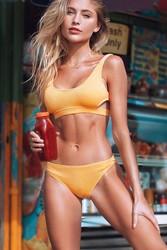 Angelsin Özel Kumaş Şık Bikini Takım Sarı - Thumbnail