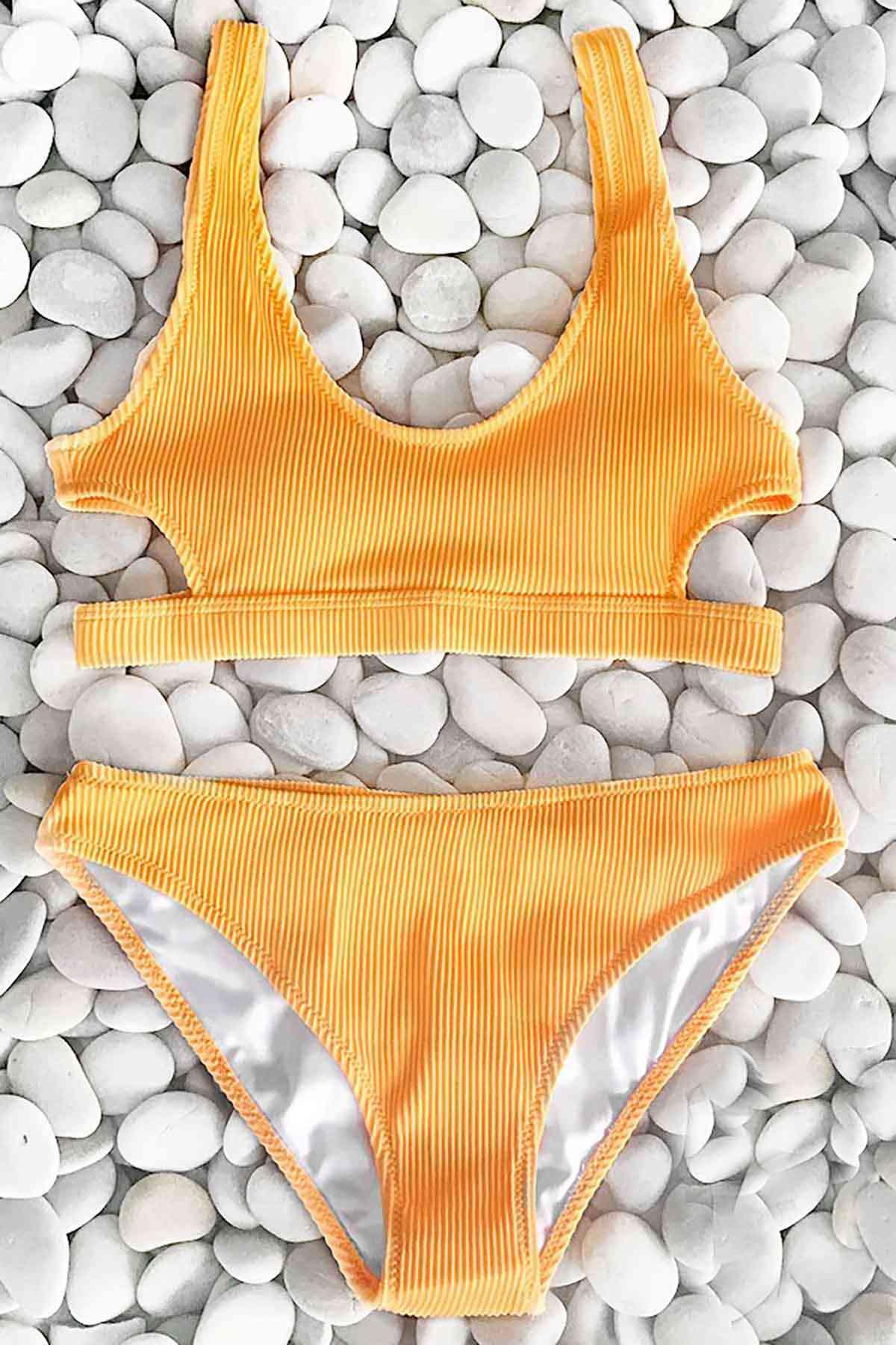 Angelsin Özel Kumaş Şık Bikini Takım Sarı