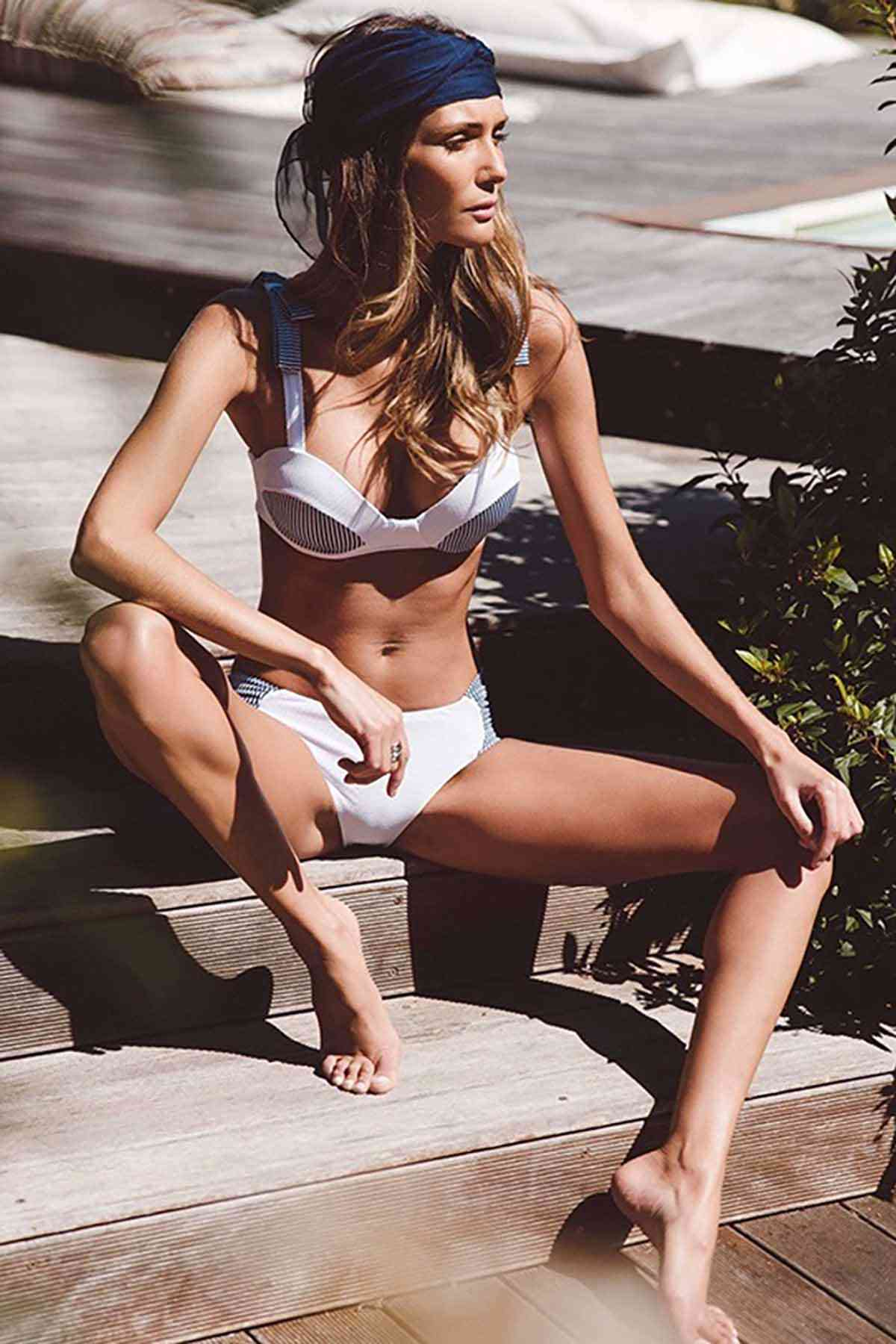 Angelsin Özel Tasarım Desenli Bikini Takım Beyaz