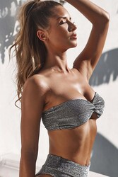 Angelsin Simli Straplez Bikini Alt Üst Takım Gri - Thumbnail