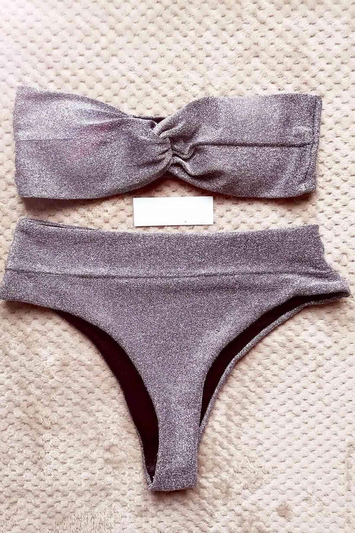 Angelsin Simli Straplez Bikini Alt Üst Takım Gri