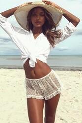 Angelsin Tül Trasparan Plaj Deniz Şortu Beyaz - Thumbnail