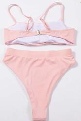 Angelsin Yüksek Bel Bikini Takım Pembe - Thumbnail