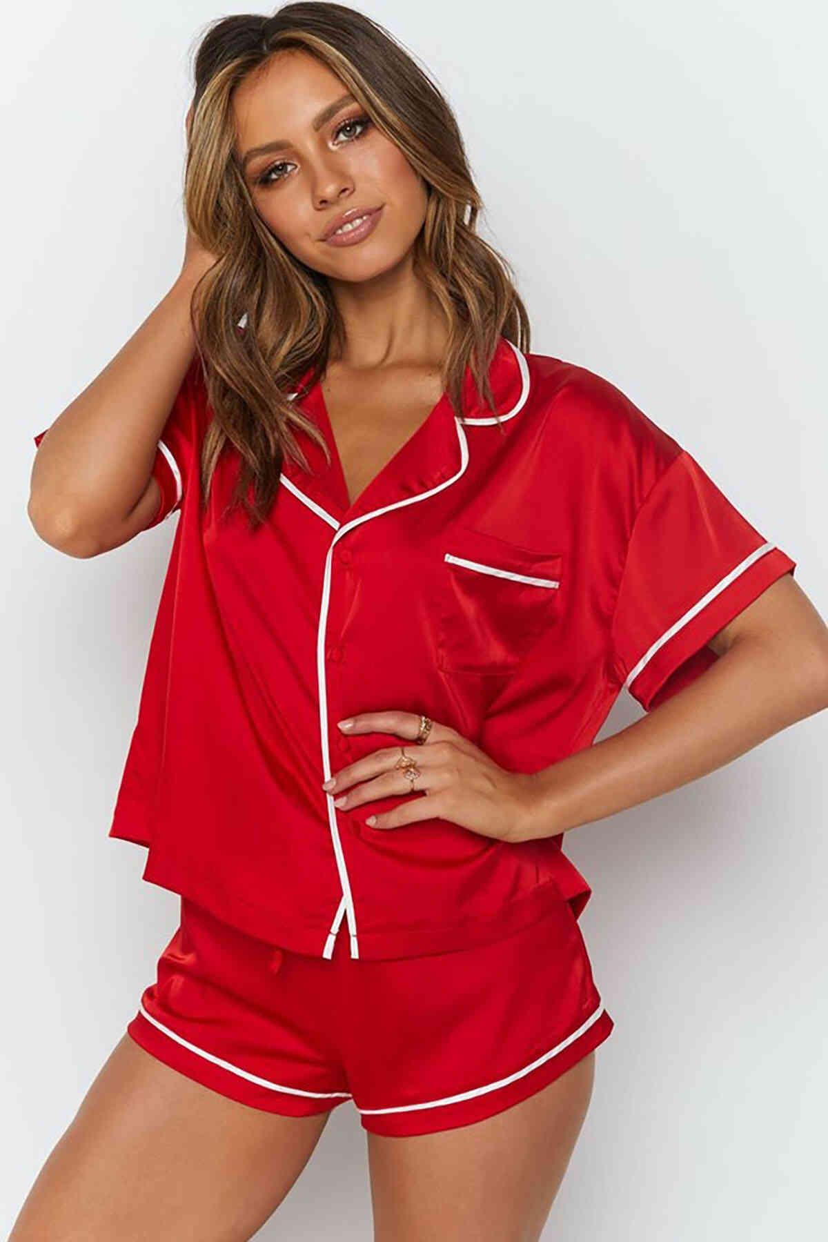 Merry See Ara Biyeli Saten Şortlu Pijama Takım Kırmızı