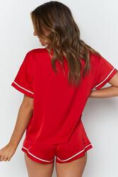 Merry See Ara Biyeli Saten Şortlu Pijama Takım Kırmızı - Thumbnail