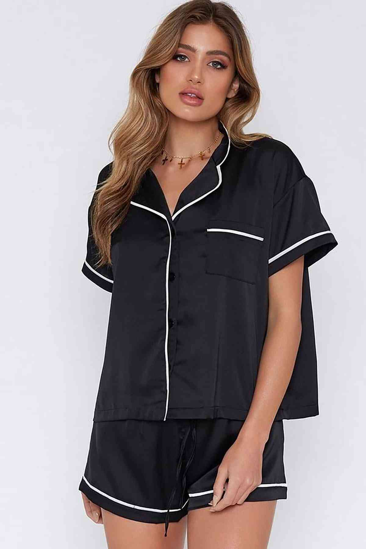 Merry See Ara Biyeli Saten Şortlu Pijama Takım Siyah