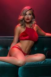 Merry See Kadife Seksi Jartiyer Takım Kırmızı - Thumbnail