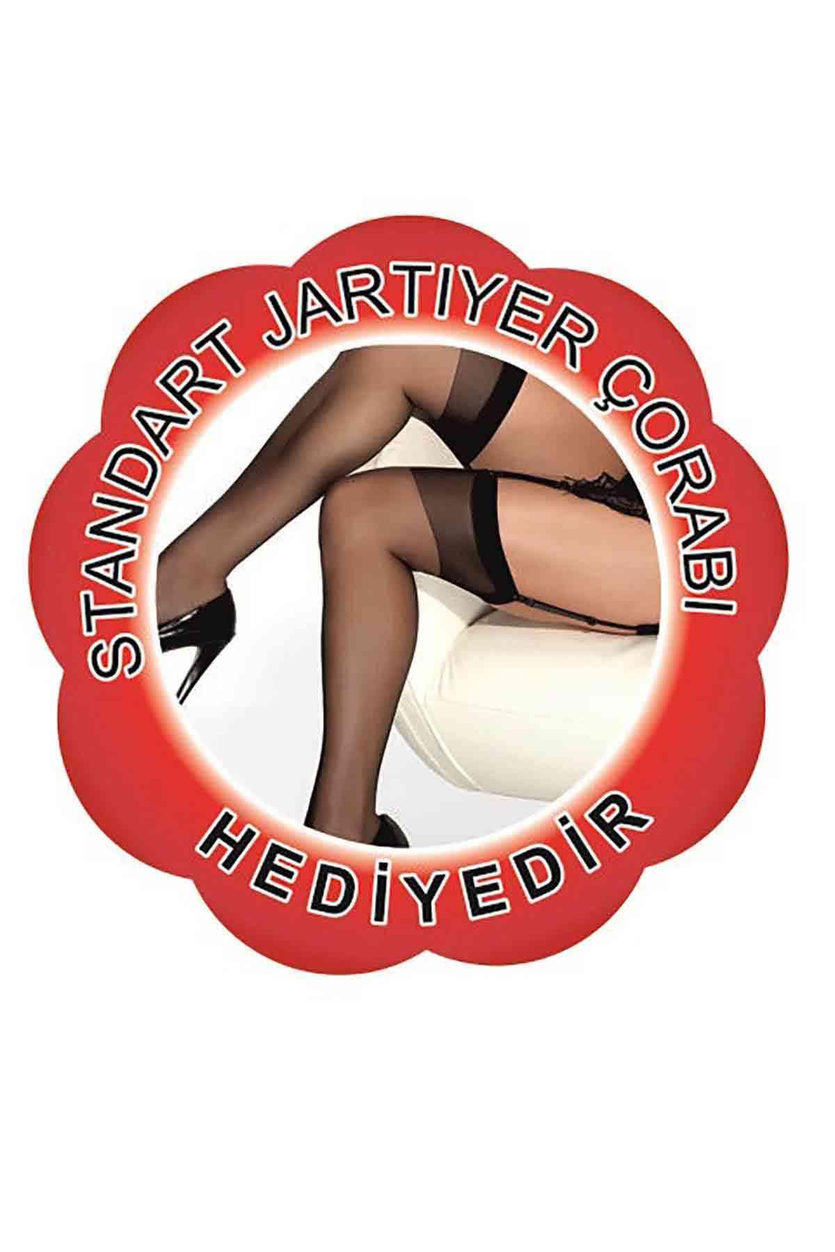 Merry See Kırmızı Dantel Jatiyer Gecelik Takım+ ÇORAP HEDİYELİ