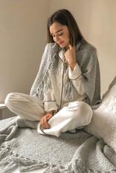 Merry See Saten Pijama Takım Düğmeli Beyaz - Thumbnail