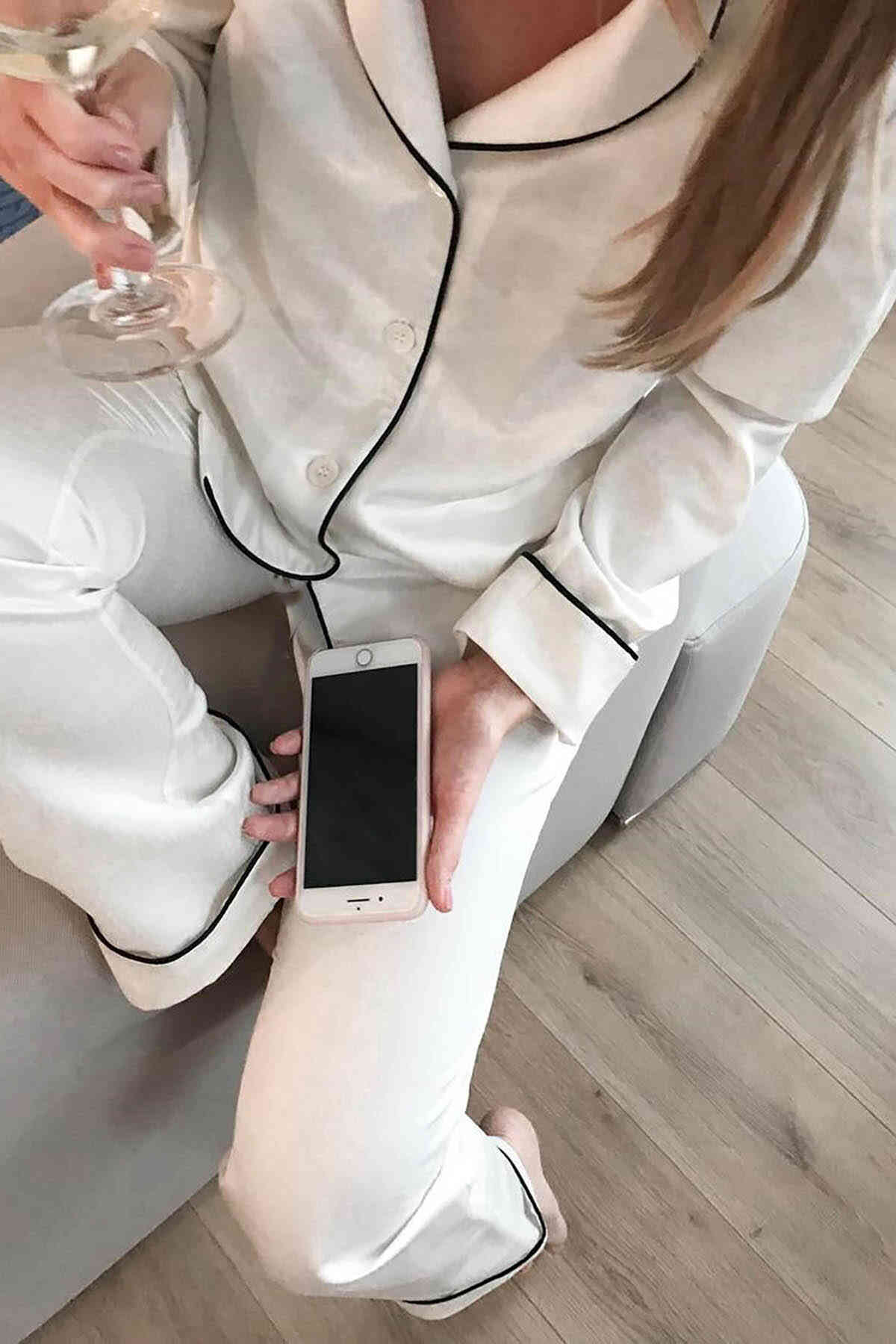 Merry See Saten Pijama Takım Düğmeli Beyaz