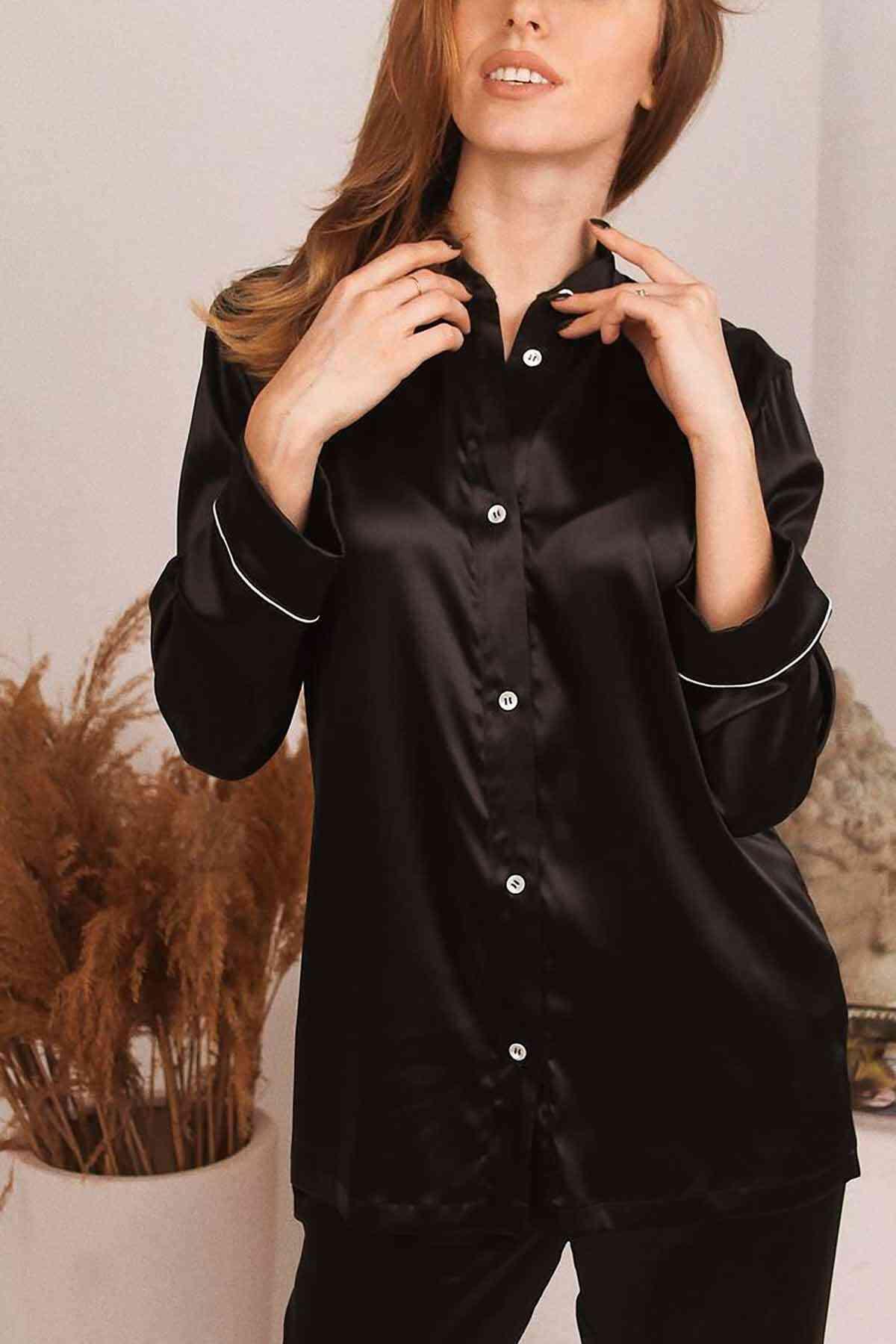 Merry See Saten Pijama Takım Hakim Yakalı Siyah