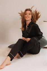 Merry See Saten Pijama Takım Hakim Yakalı Siyah - Thumbnail