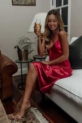 Merry See Sırt Dekolteli Uzun Saten Gecelik Elbise Kırmızı - Thumbnail
