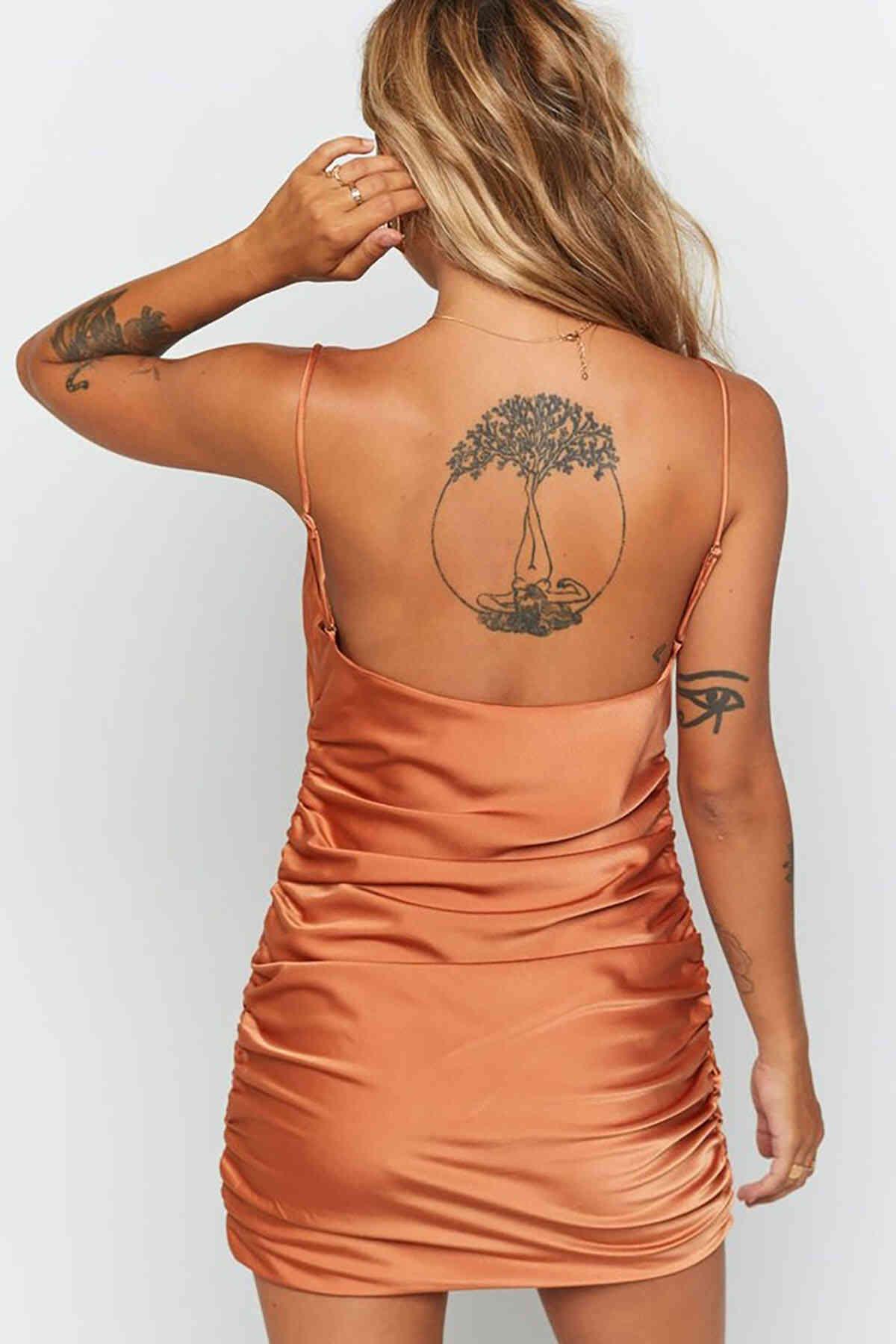 Merry See Saten Yanlardan Büzgülü Kısa Gecelik Elbise Bakır