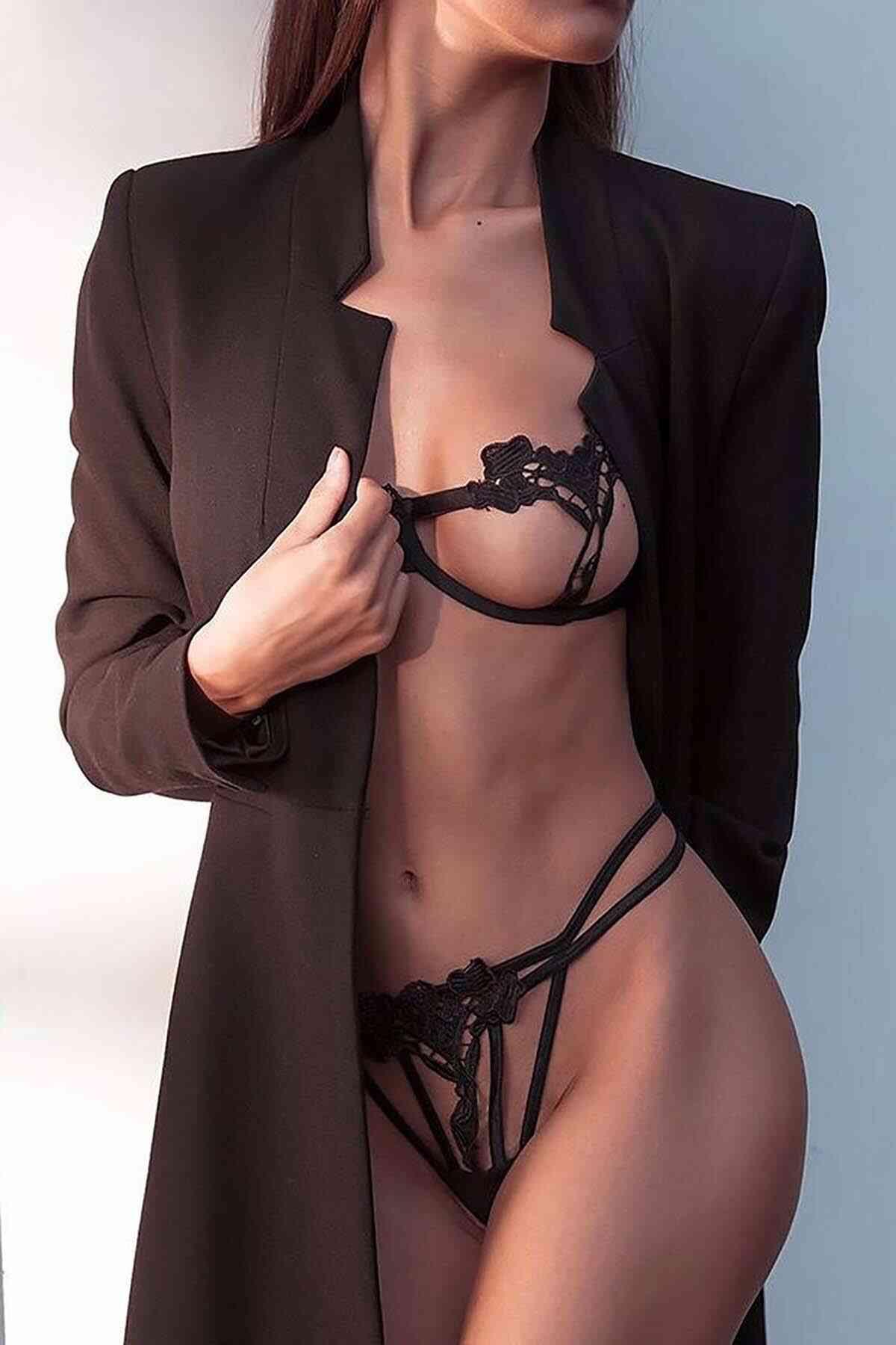 Merry See Sexy Sütyen Külot Takım Fantezi İç giyim Siyah