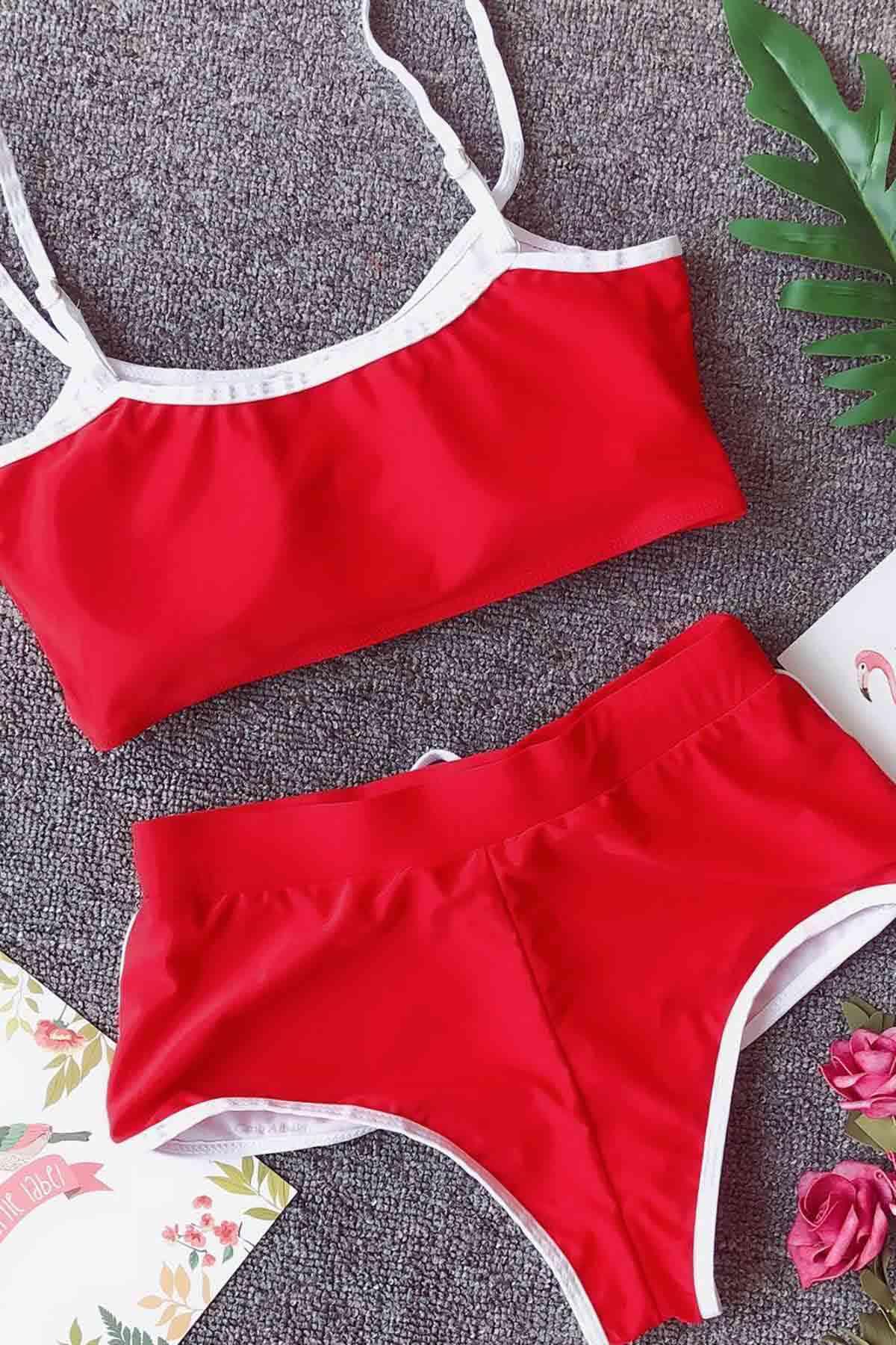 Merry See Şortlu Büstiyer Takım Kırmızı