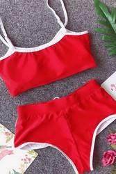 Merry See Şortlu Büstiyer Takım Kırmızı - Thumbnail