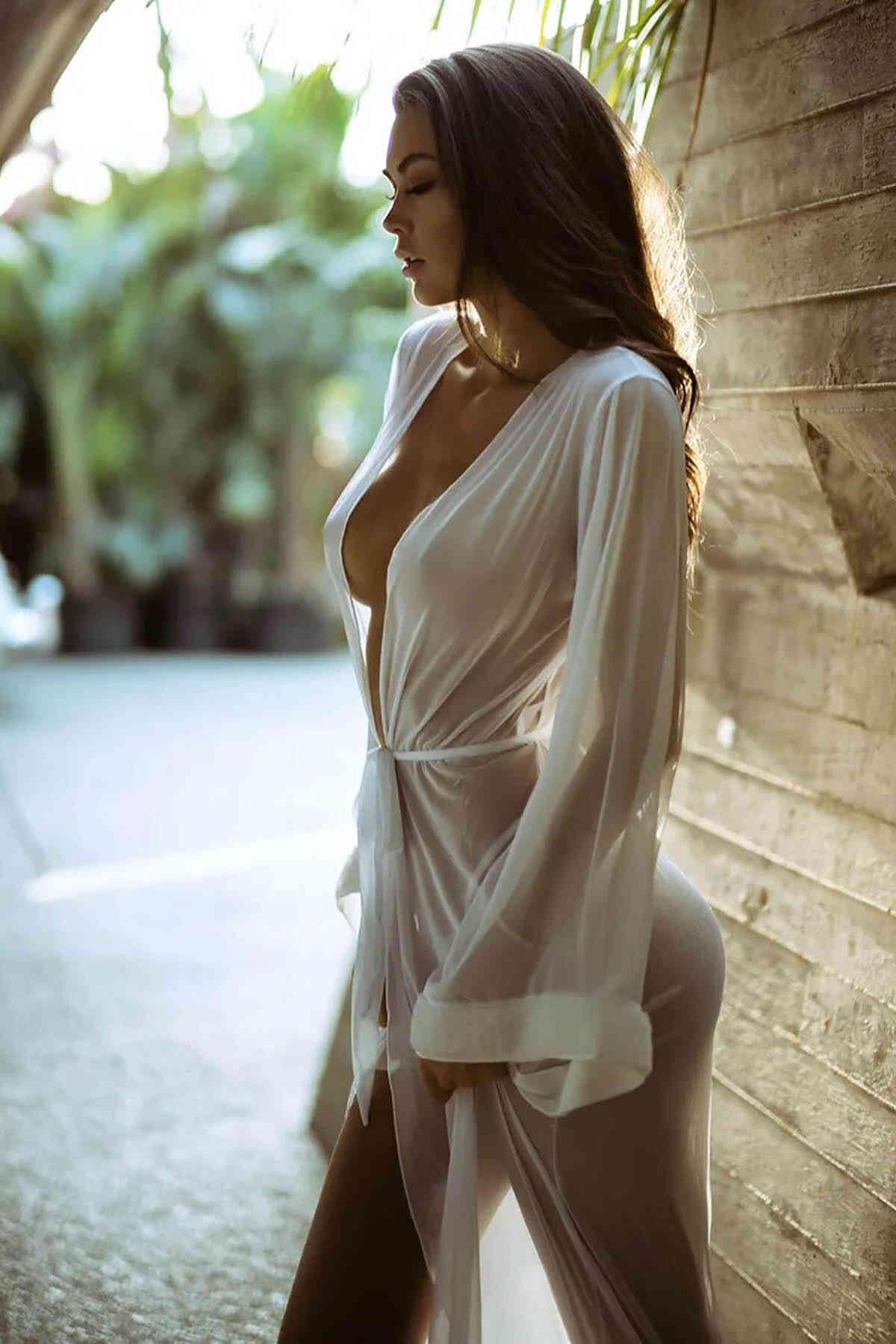 Merry See Uzun Tül Sabahlık Gecelik İç Giyim Beyaz
