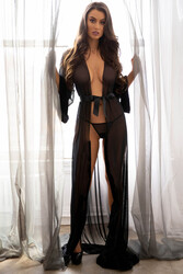 Merry See Uzun Tül Sabahlık Gecelik İç Giyim Siyah - Thumbnail